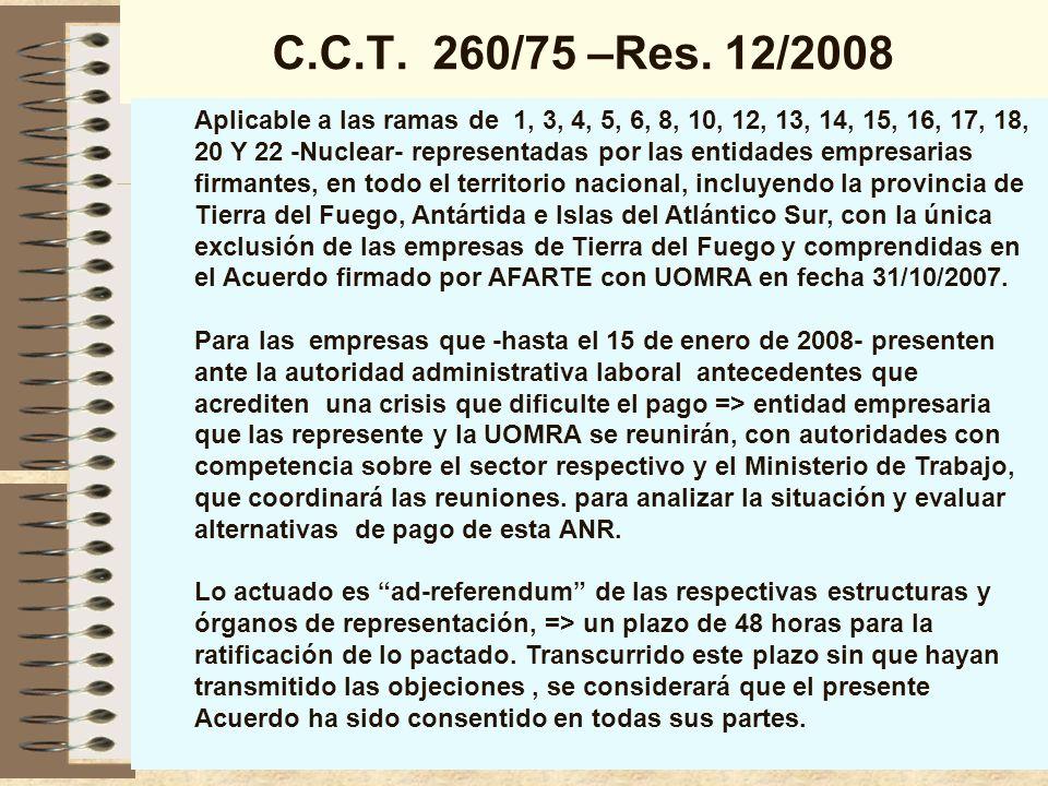 C.C.T.260/75 –Res.