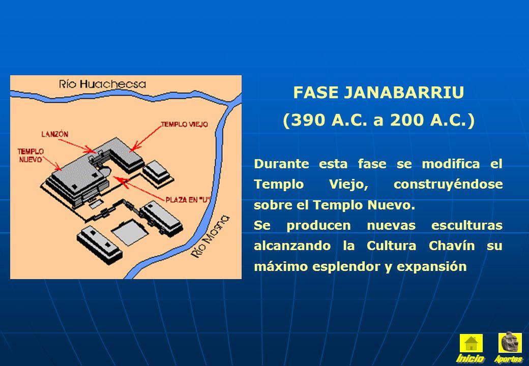 FASE CHAKINANI (460 A.C. a 390 A.C.) La población crece alrededor del Templo de Chavín de Huántar con la presencia de artesanos que hacen innovaciones