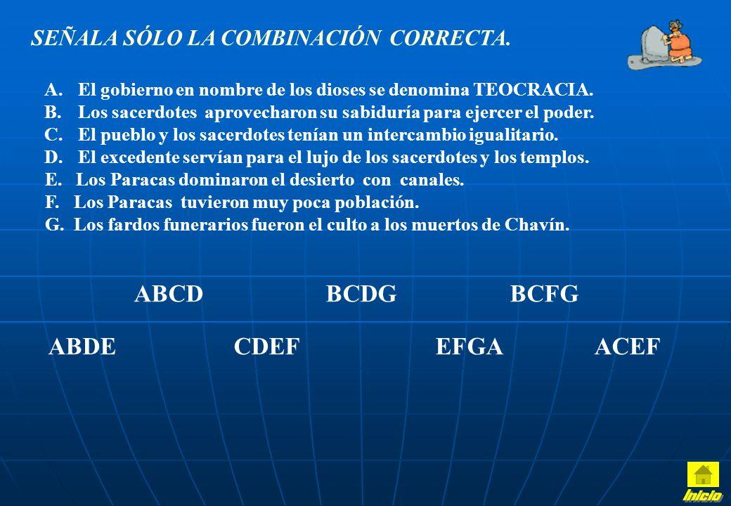 SUBRAYA LA RESPUESTA CORRECTA: Chavín es a ………… como ………… es a tejido. arquitectura – Paracas cerámica – Mochica agricultura – Sipán Los sacerdotes Ch