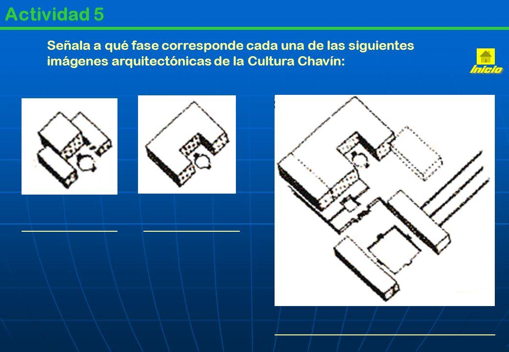 Actividad 5 Señala a qué fase corresponde cada una de las siguientes imágenes arquitectónicas de la Cultura Chavín: