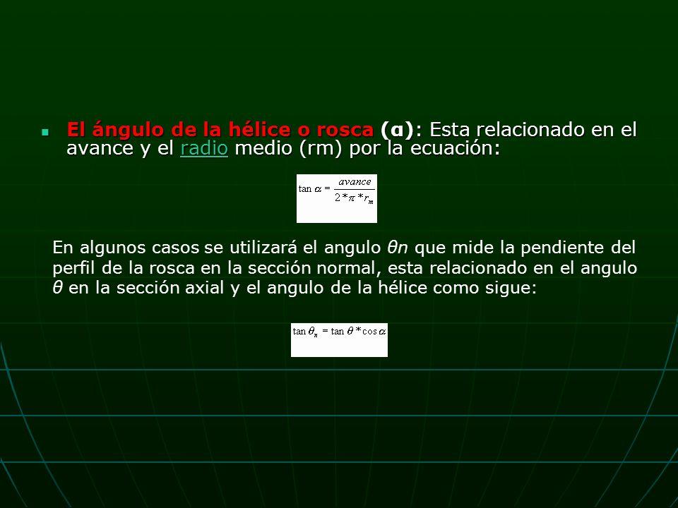 El ángulo de la hélice o rosca (α): Esta relacionado en el avance y el radio medio (rm) por la ecuación: El ángulo de la hélice o rosca (α): Esta relacionado en el avance y el radio medio (rm) por la ecuación:radio En algunos casos se utilizará el angulo θn que mide la pendiente del perfil de la rosca en la sección normal, esta relacionado en el angulo θ en la sección axial y el angulo de la hélice como sigue: