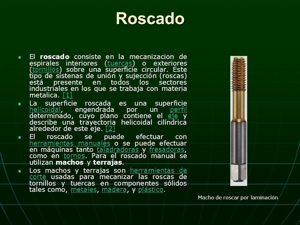 Roscado El roscado consiste en la mecanizacion de espirales interiores (tuercas) o exteriores (tornillos) sobre una superficie circular.
