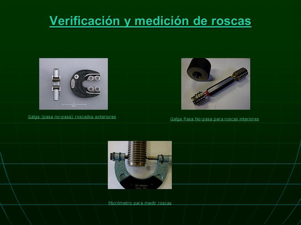 Verificación y medición de roscas Verificación y medición de roscas Galga (pasa no-pasa) roscados exteriores Galga Pasa No-pasa para roscas interiores Micrómetro para medir roscas
