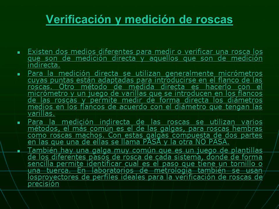 Verificación y medición de roscas Verificación y medición de roscas Existen dos medios diferentes para medir o verificar una rosca los que son de medición directa y aquellos que son de medición indirecta.