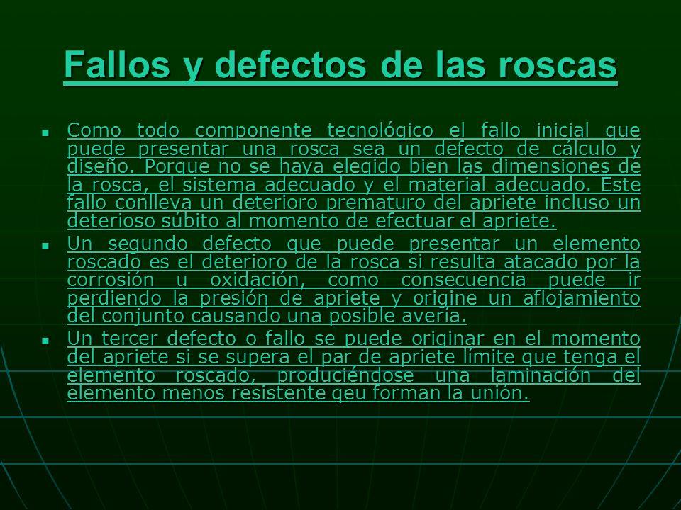 Fallos y defectos de las roscas Fallos y defectos de las roscas Como todo componente tecnológico el fallo inicial que puede presentar una rosca sea un defecto de cálculo y diseño.