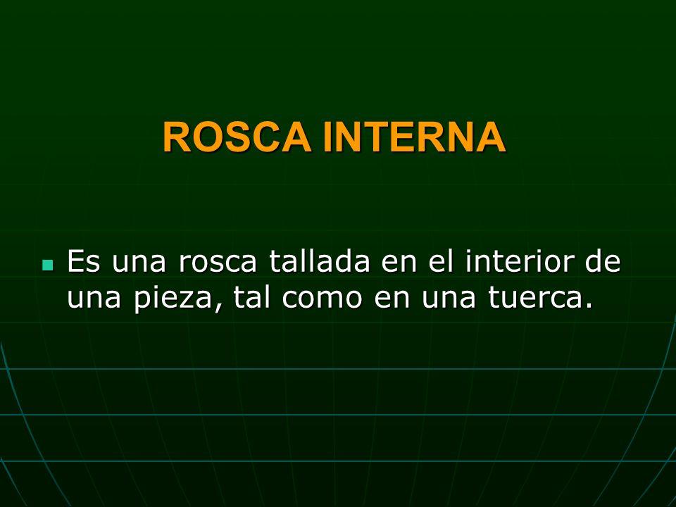 ROSCA INTERNA Es una rosca tallada en el interior de una pieza, tal como en una tuerca.