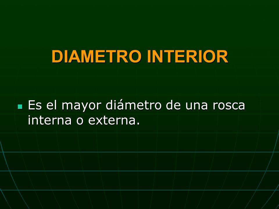 DIAMETRO INTERIOR Es el mayor diámetro de una rosca interna o externa.