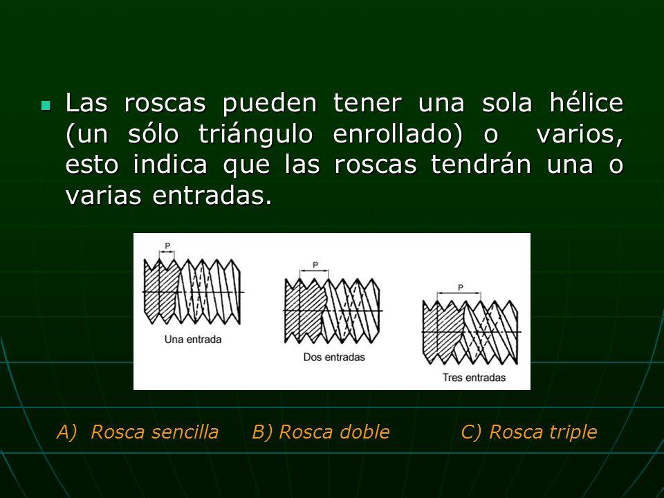 Las roscas pueden tener una sola hélice (un sólo triángulo enrollado) o varios, esto indica que las roscas tendrán una o varias entradas.