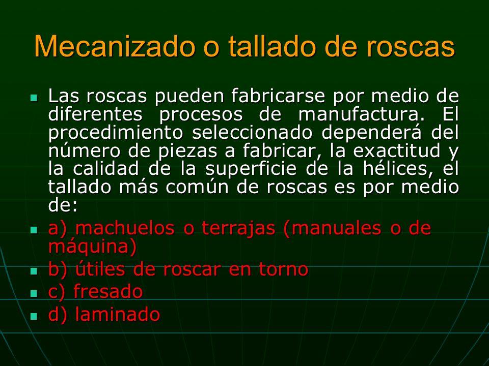 Mecanizado o tallado de roscas Las roscas pueden fabricarse por medio de diferentes procesos de manufactura.