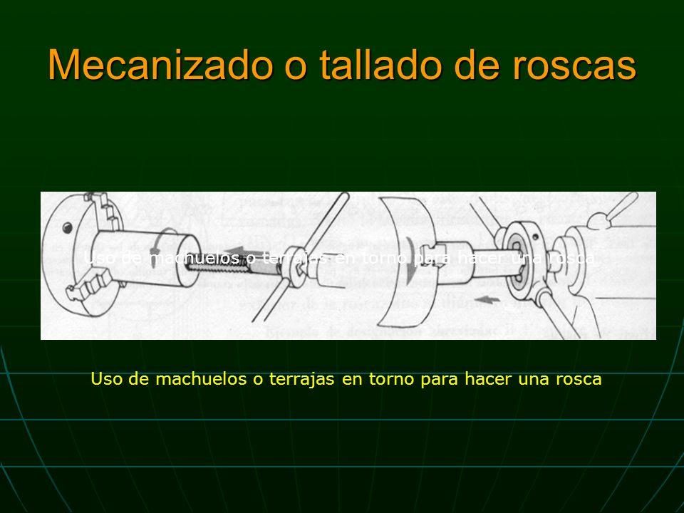 Mecanizado o tallado de roscas Uso de machuelos o terrajas en torno para hacer una rosca