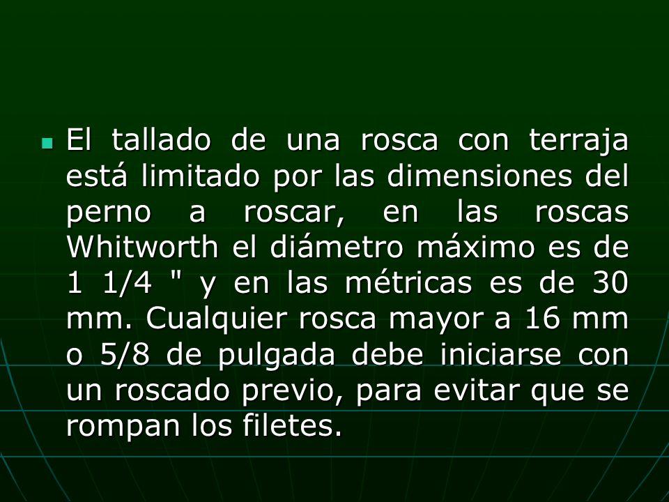 El tallado de una rosca con terraja está limitado por las dimensiones del perno a roscar, en las roscas Whitworth el diámetro máximo es de 1 1/4 y en las métricas es de 30 mm.