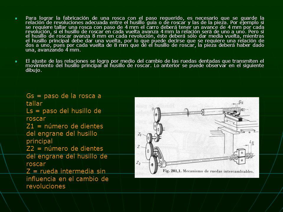 Para lograr la fabricación de una rosca con el paso requerido, es necesario que se guarde la relación de revoluciones adecuada entre el husillo guía o de roscar y las de la pieza.