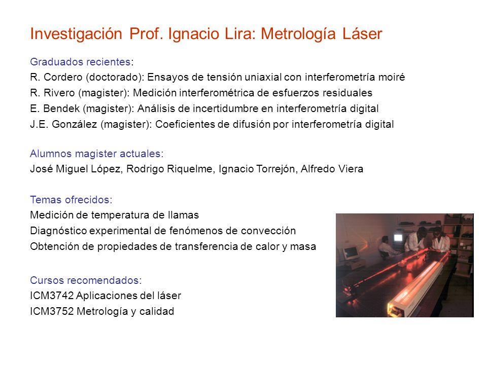 Investigación Prof. Ignacio Lira: Metrología Láser Graduados recientes: R. Cordero (doctorado): Ensayos de tensión uniaxial con interferometría moiré