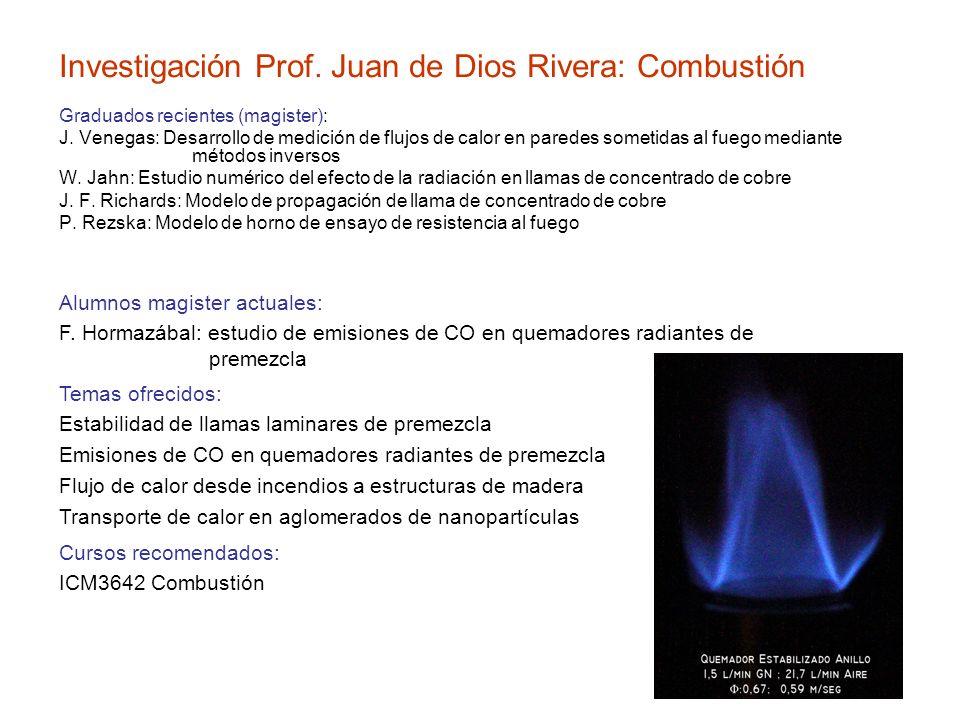 Investigación Prof. Juan de Dios Rivera: Combustión Graduados recientes (magister): J. Venegas: Desarrollo de medición de flujos de calor en paredes s