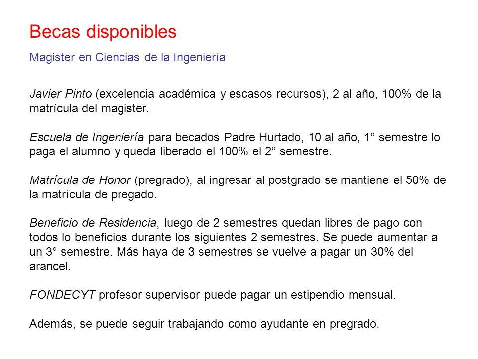 Becas disponibles Magister en Ciencias de la Ingeniería Javier Pinto (excelencia académica y escasos recursos), 2 al año, 100% de la matrícula del mag