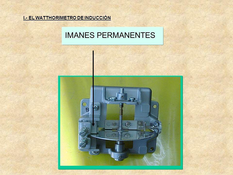 I.- EL WATTHORIMETRO DE INDUCCIÓN IMANES PERMANENTES 3.- IMANES PERMANENTES: o de frenado, son los reguladores de la velocidad del disco y se utilizan
