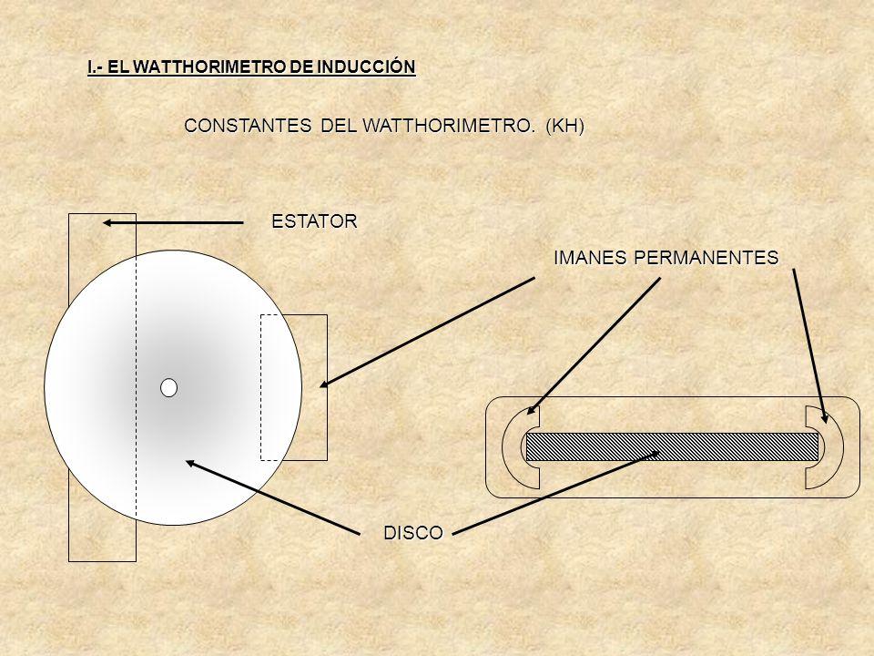 CONSTANTES DEL WATTHORIMETRO. (KH) Como se demostró el par es proporcional a la potencia utilizada por un determinado usuario; por lo que al dejar de
