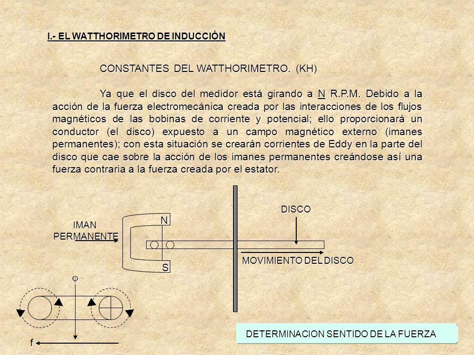 CONSTANTES DEL WATTHORIMETRO. (KH) Para poder aumentar o disminuir la velocidad del disco, es necesario disminuir o aumentar la distancia con respecto