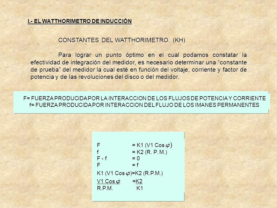 CONSTANTES DEL WATTHORIMETRO. (KH) Ya que el disco del medidor está girando a NR.P.M. Debido a la acción de la fuerza electromecánica creada por las i