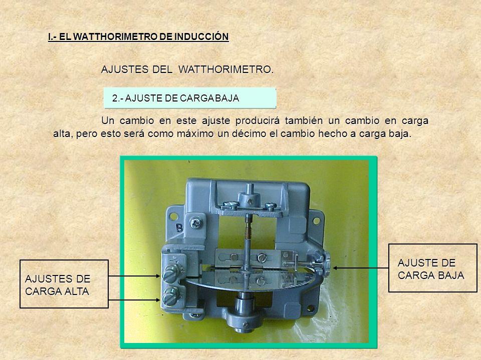 AJUSTES DEL WATTHORIMETRO. Cuando no hay corriente o carga, cualquier falta de simetría en el flujo de la bobina de potencial produce un par que puede
