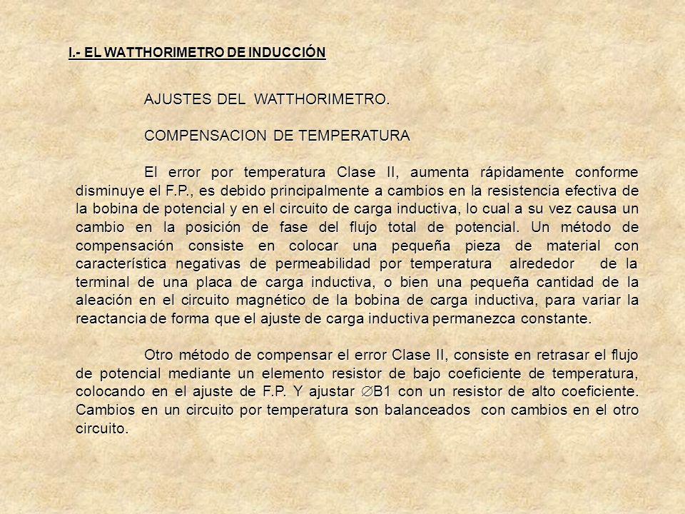 AJUSTES DEL WATTHORIMETRO. COMPENSACION DE TEMPERATURA Los cambios en la temperatura pueden causar grandes errores en la exactitud si el medidor no es