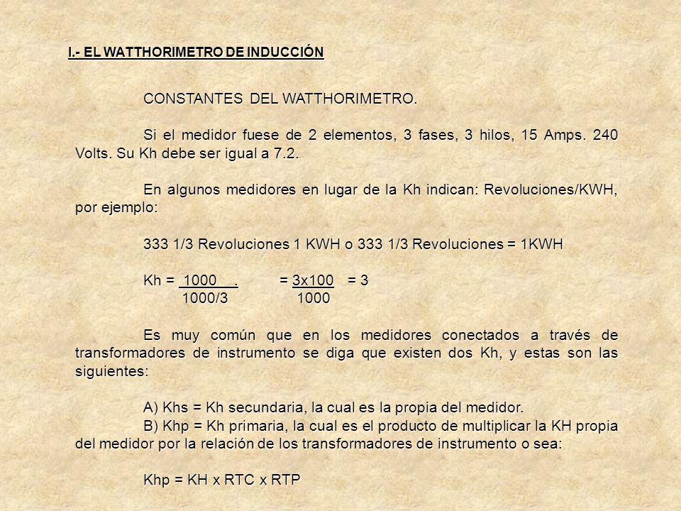 CONSTANTES DEL WATTHORIMETRO. Se da el nombre de constante de un medidor a la relación que existe entre el registro de la energía y el funcionamiento