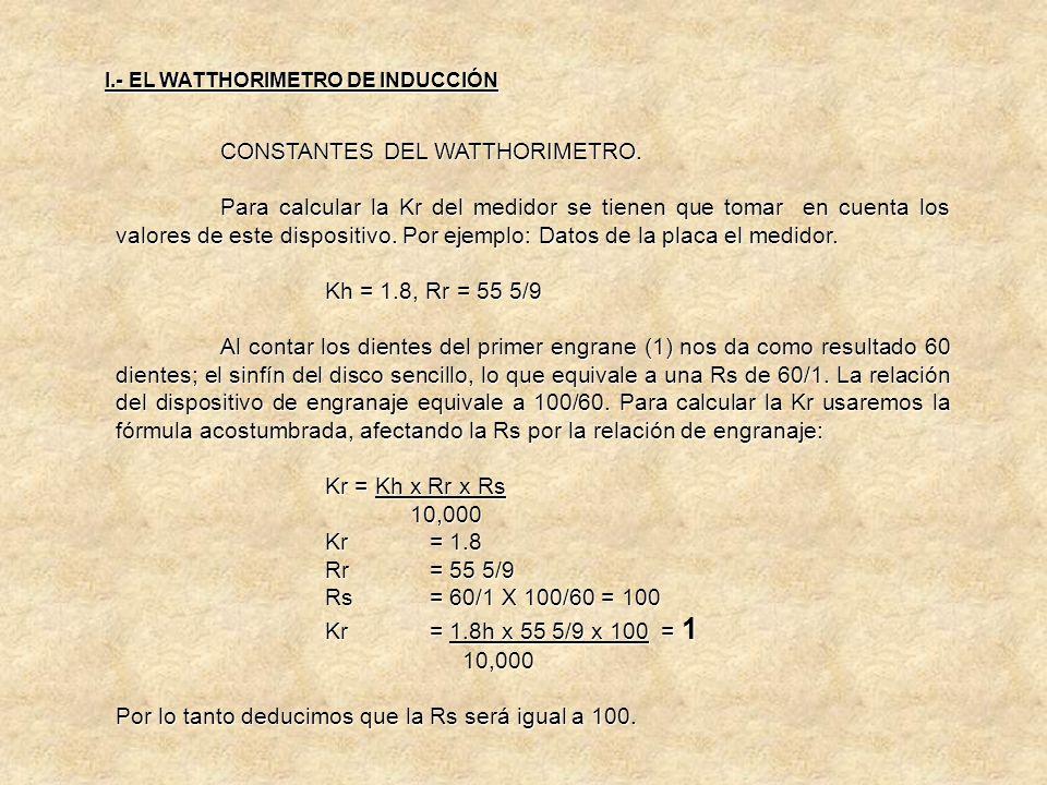 CONSTANTES DEL WATTHORIMETRO. Lo cual nos indica que para obtener la energía real registrada por el medidor, deberá multiplicarse las lecturas por 500