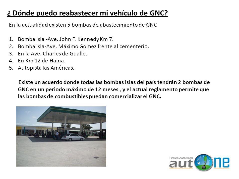 ¿ Dónde puedo reabastecer mi vehículo de GNC? En la actualidad existen 5 bombas de abastecimiento de GNC 1.Bomba Isla -Ave. John F. Kennedy Km 7. 2.Bo