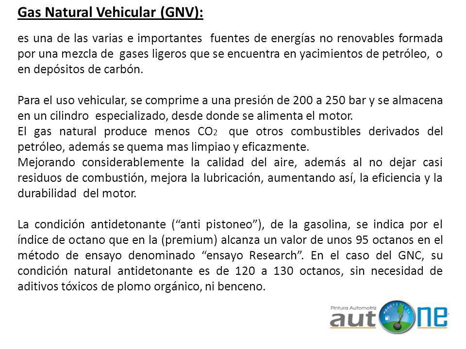 Gas Natural Vehicular (GNV): es una de las varias e importantes fuentes de energías no renovables formada por una mezcla de gases ligeros que se encue