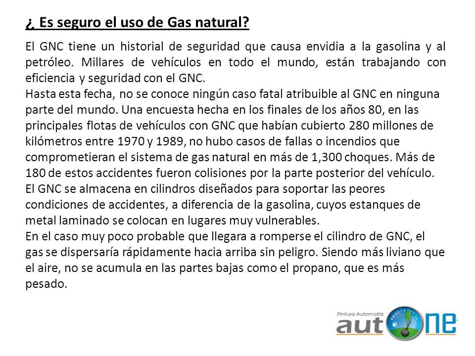 El sistema de combustible GNC es del tipo sellado o sea que es hermético, lo que elimina la posibilidad de derrames o pérdidas de evaporación lo que es intrínseco a los tanques de gasolina.
