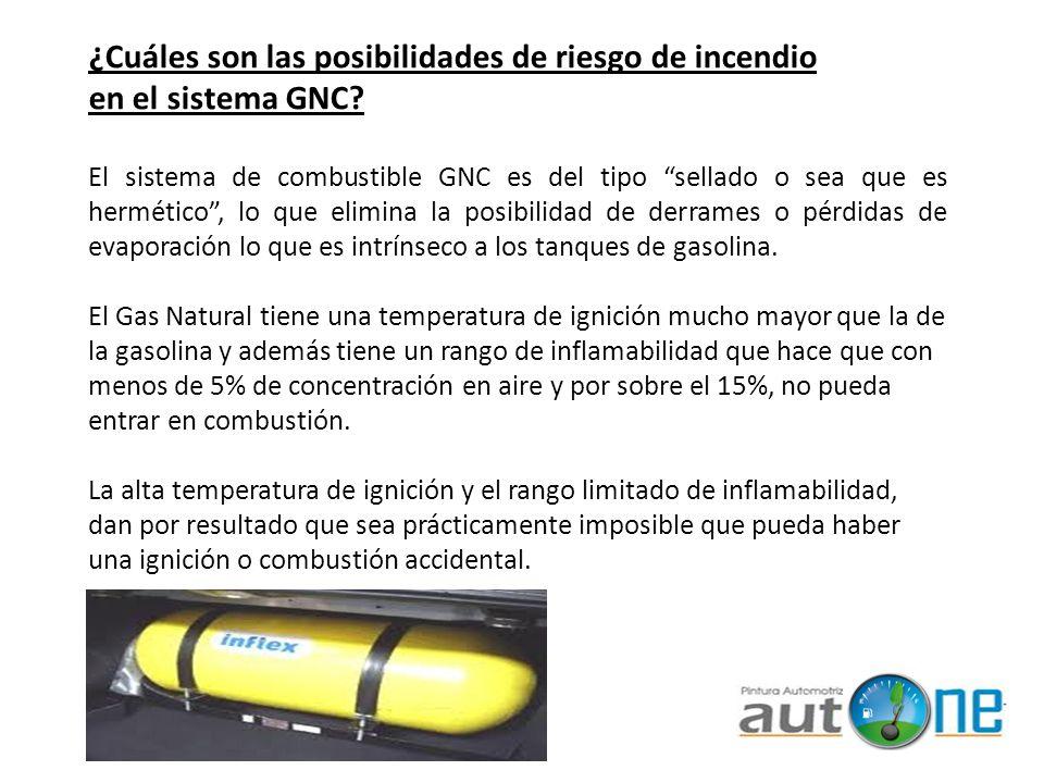 El sistema de combustible GNC es del tipo sellado o sea que es hermético, lo que elimina la posibilidad de derrames o pérdidas de evaporación lo que e