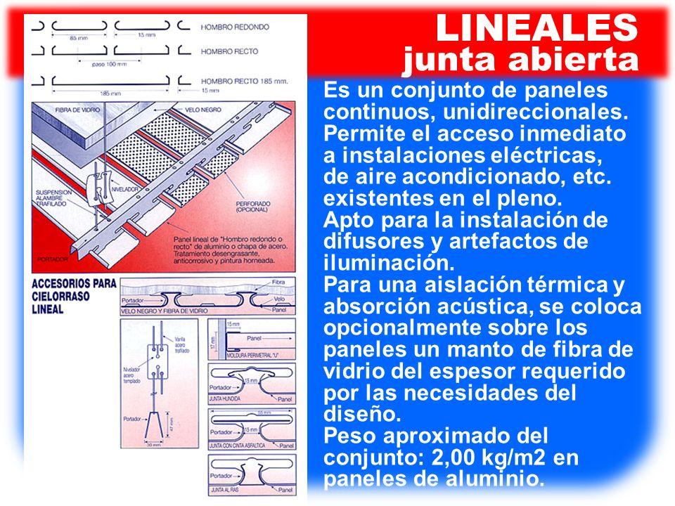 LINEALES junta abierta Es un conjunto de paneles continuos, unidireccionales. Permite el acceso inmediato a instalaciones eléctricas, de aire acondici