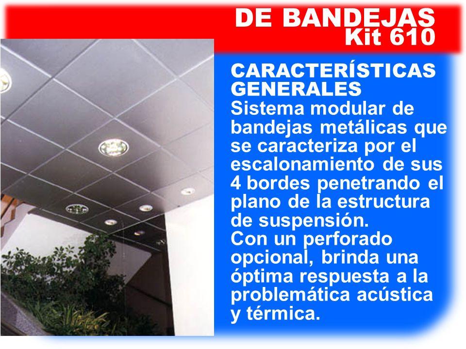 Kit 610 DE BANDEJAS CARACTERÍSTICAS GENERALES Sistema modular de bandejas metálicas que se caracteriza por el escalonamiento de sus 4 bordes penetrand