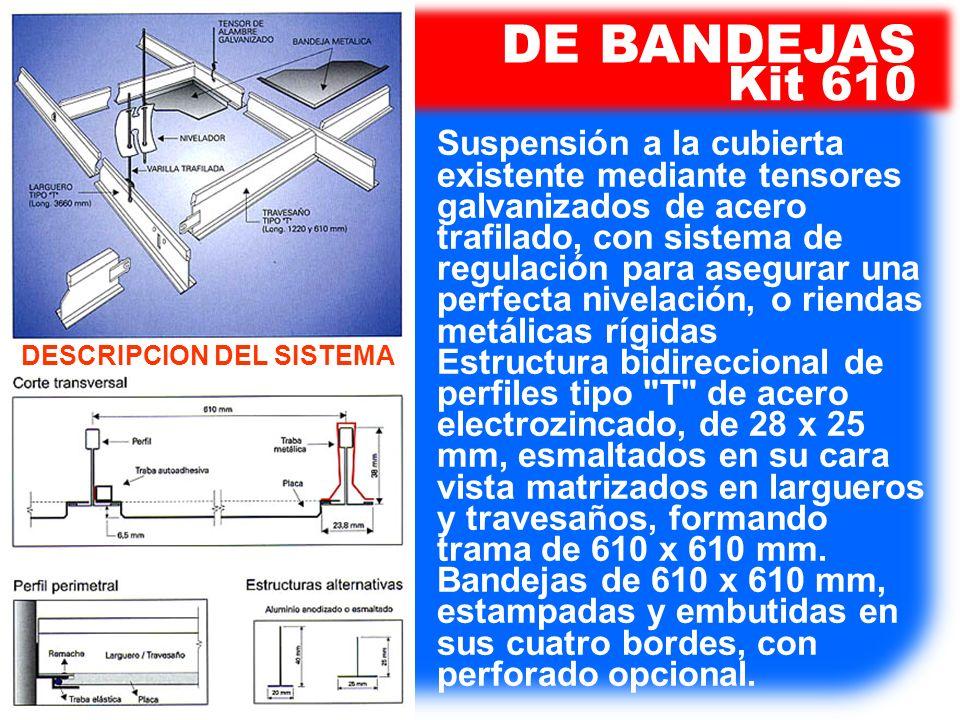 Suspensión a la cubierta existente mediante tensores galvanizados de acero trafilado, con sistema de regulación para asegurar una perfecta nivelación,