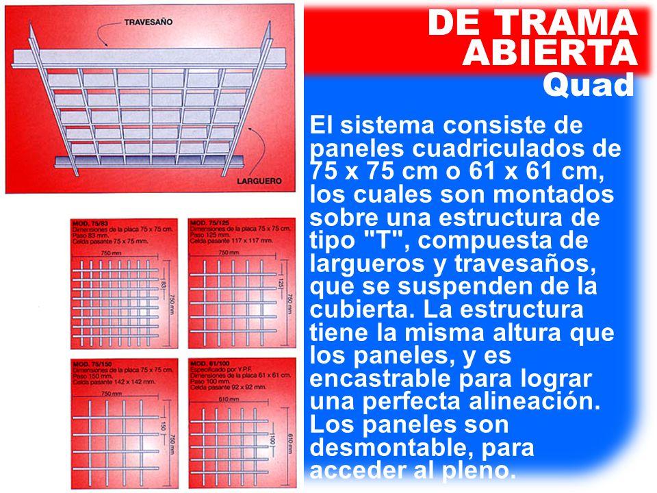 El sistema consiste de paneles cuadriculados de 75 x 75 cm o 61 x 61 cm, los cuales son montados sobre una estructura de tipo