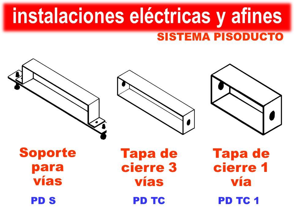 PD TC 1PD TCPD S Tapa de cierre 1 vía Tapa de cierre 3 vías Soporte para vías SISTEMA PISODUCTO instalaciones eléctricas y afines