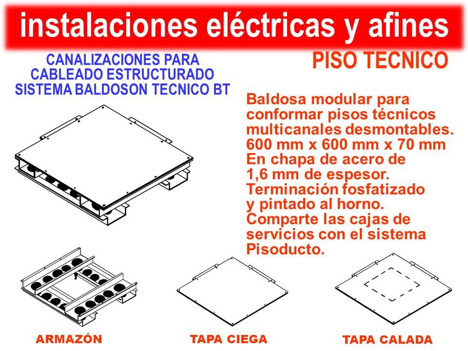 PISO TECNICO instalaciones eléctricas y afines Baldosa modular para conformar pisos técnicos multicanales desmontables. 600 mm x 600 mm x 70 mm En cha