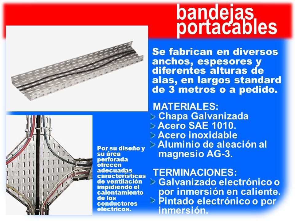 bandejas portacables Se fabrican en diversos anchos, espesores y diferentes alturas de alas, en largos standard de 3 metros o a pedido. Por su diseño