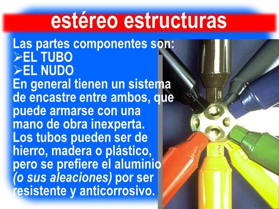 estéreo estructuras Las partes componentes son: EL TUBO EL NUDO En general tienen un sistema de encastre entre ambos, que puede armarse con una mano d