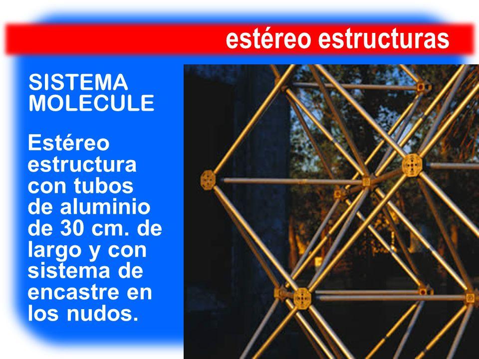 estéreo estructuras Estéreo estructura con tubos de aluminio de 30 cm. de largo y con sistema de encastre en los nudos. SISTEMA MOLECULE