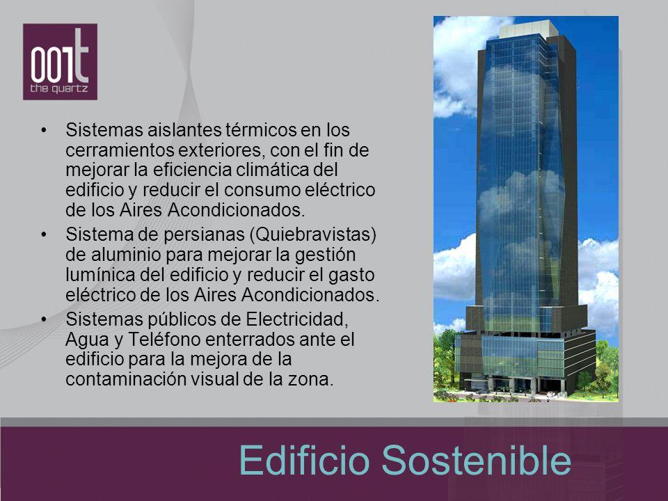 Edificio Sostenible Sistemas aislantes térmicos en los cerramientos exteriores, con el fin de mejorar la eficiencia climática del edificio y reducir e