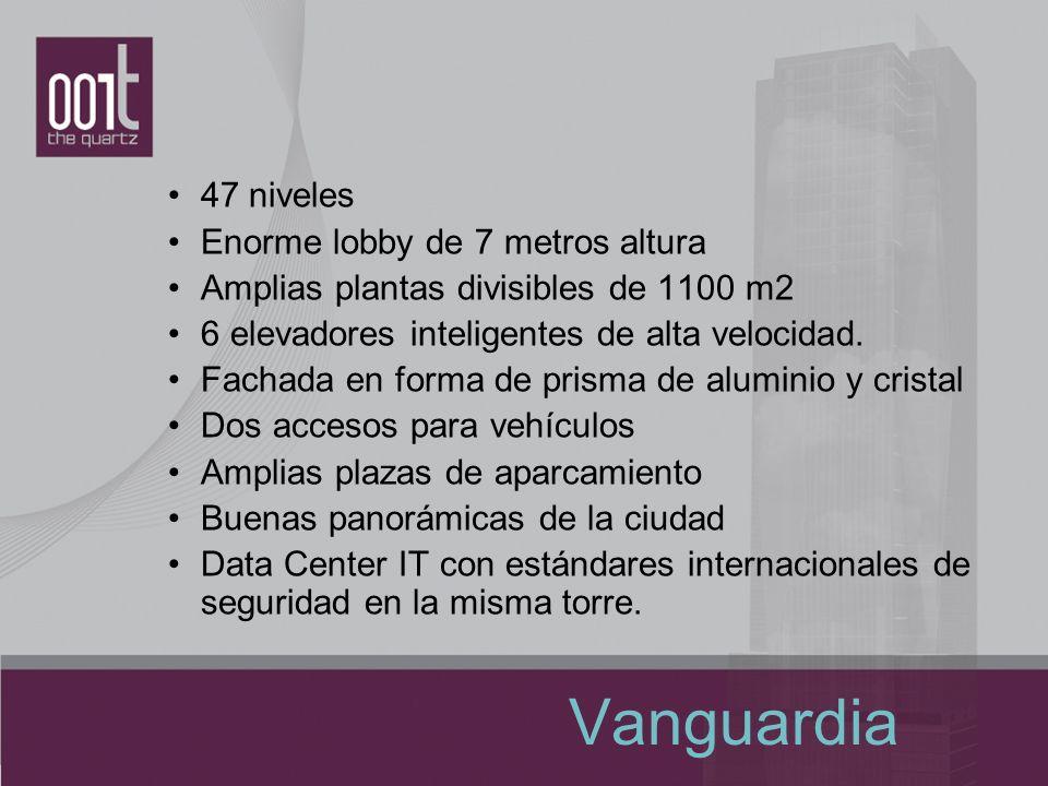 Vanguardia 47 niveles Enorme lobby de 7 metros altura Amplias plantas divisibles de 1100 m2 6 elevadores inteligentes de alta velocidad. Fachada en fo
