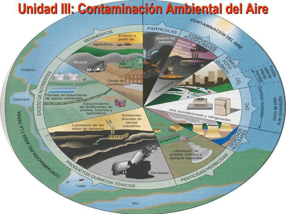Contaminación Ambiental del Aire MEDIO AMBIENTE: ESPACIO-TIEMPO-BIOLÓGICO (ECOSISTEMAS) Calidad del Aire Componentes menores del aire no contaminado Aspectos físicos del aire Parámetros químicos del aire Estándares nacionales de calidad del aire por tipo de contaminante – DIGESA Estándares nacionales de calidad del aire – CONAM Efectos de la Contaminación en la Salud y el Medio Ambiente Efectos en la salud de los principales contaminantes atmosféricos (gases) Efectos en la salud de los principales contaminantes atmosféricos (metales tóxicos) Efectos en la salud de los principales contaminantes atmosféricos (solventes) Control y Vigilancia de la Calidad del Aire Evaluación de la Calidad del Aire Selección de Estaciones de Control Metodología y equipos para el control de calidad de aire ambiental Metodología y equipos de control de parámetros meteorológicos Contaminación por ruido Efectos y fuentes de ruido Contaminación de espacios en interiores Fuentes de contaminación en interiores Legislación ambiental sobre ruido Modelos para considerar los impactos en el medio sonoro CONAM Estructura organizacional DIGESA Objetivo funcional de DIGESA Base legal Organigrama de DIGESA EIA: Principios y conceptos Acciones que requieren EIA El enfoque de la evaluación de impacto ambiental Beneficios y costos de la EIA para los promoventes Cuando hacer el EIA Evaluación de impacto ambiental
