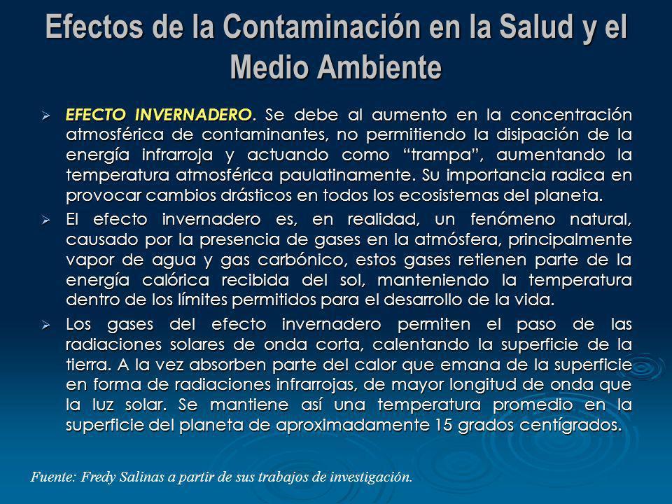 Efectos de la Contaminación en la Salud y el Medio Ambiente EFECTO INVERNADERO. Se debe al aumento en la concentración atmosférica de contaminantes, n