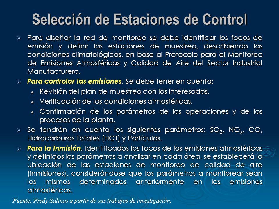 Selección de Estaciones de Control Para diseñar la red de monitoreo se debe identificar los focos de emisión y definir las estaciones de muestreo, des