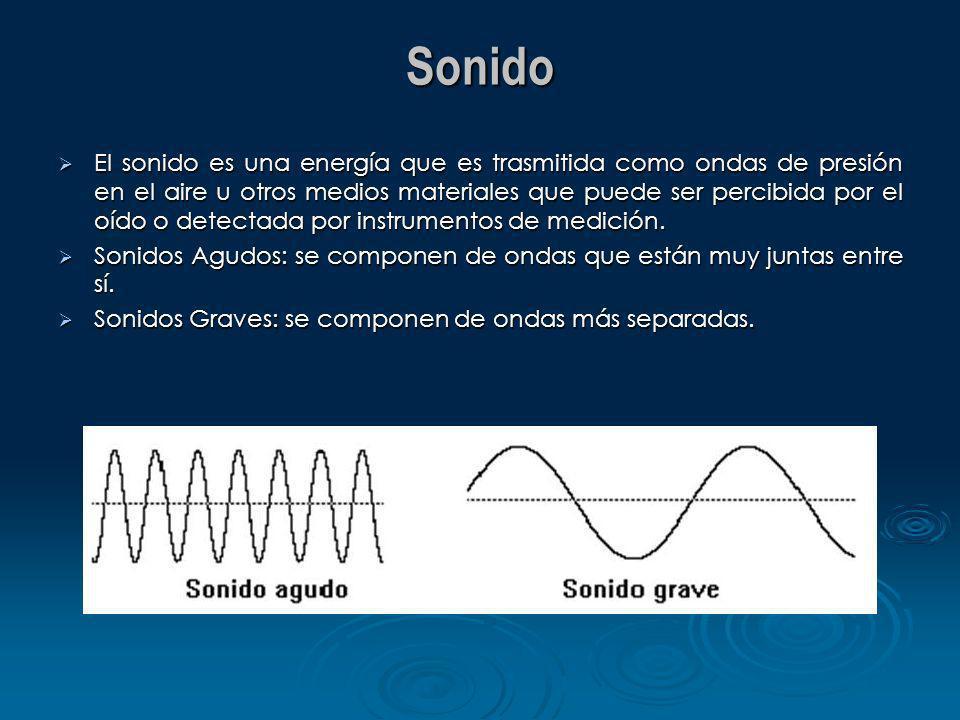 Sonido El sonido es una energía que es trasmitida como ondas de presión en el aire u otros medios materiales que puede ser percibida por el oído o det