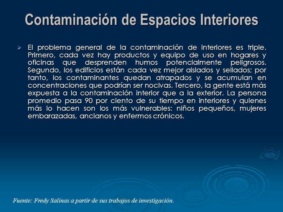 Contaminación de Espacios Interiores El problema general de la contaminación de interiores es triple. Primero, cada vez hay productos y equipo de uso