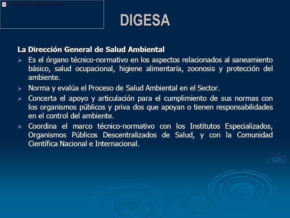 DIGESA La Dirección General de Salud Ambiental Es el órgano técnico-normativo en los aspectos relacionados al saneamiento básico, salud ocupacional, h
