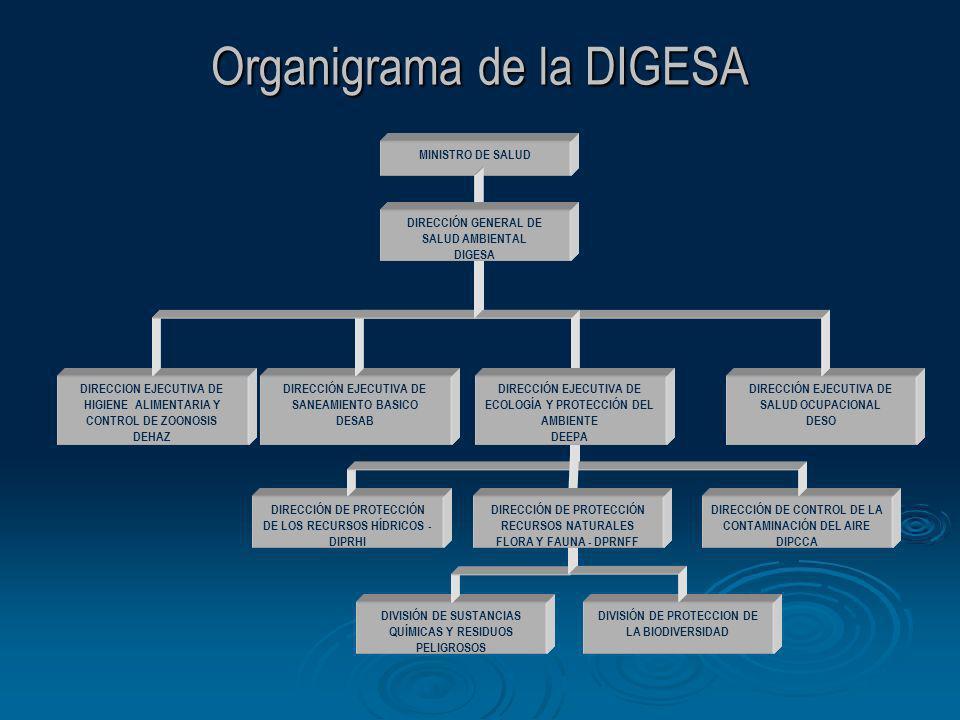 DIRECCIÓN DE PROTECCIÓN DE LOS RECURSOS HÍDRICOS - DIPRHI MINISTRO DE SALUD DIRECCIÓN EJECUTIVA DE SALUD OCUPACIONAL DESO DIRECCION EJECUTIVA DE HIGIE