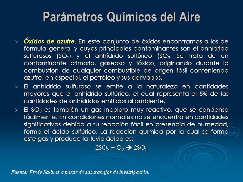Parámetros Químicos del Aire Óxidos de azufre. En este conjunto de óxidos encontramos a los de fórmula general y cuyos principales contaminantes son e